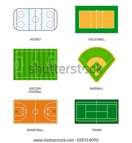 Set sport fields for games: hockey, volleyball, soccer, football, baseball, basketball and tennis. Playground meadow leisure outdoors league. Ball games field on grass in flat style isolated on white