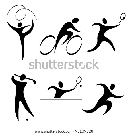 Set sports icon person. Individual sports. Summer olympic discipline. vector illustration. - stock vector