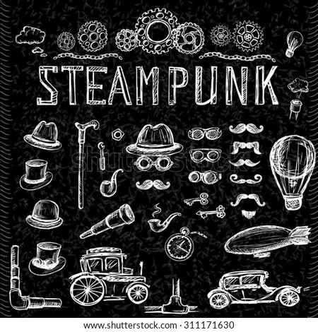 Set Steampunk collection on black, hand drawn vector illustration. - stock vector