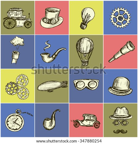 Set Steampunk icon, hand drawn vector illustration. - stock vector