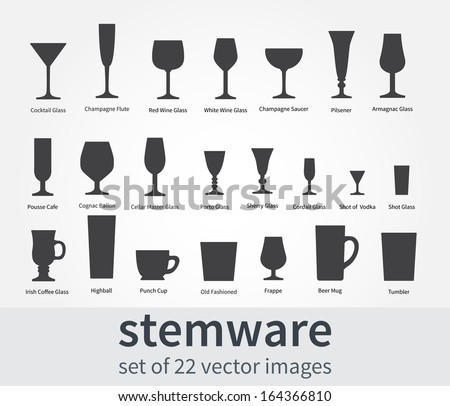 Set: stemware for alcoholic drinks - stock vector