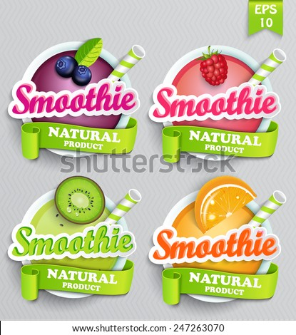 Set sticers smoothie with ribbon, vector. - stock vector