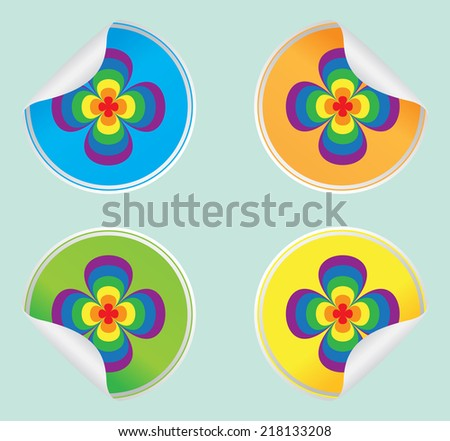 Set sticker with colors of rainbow - stock vector