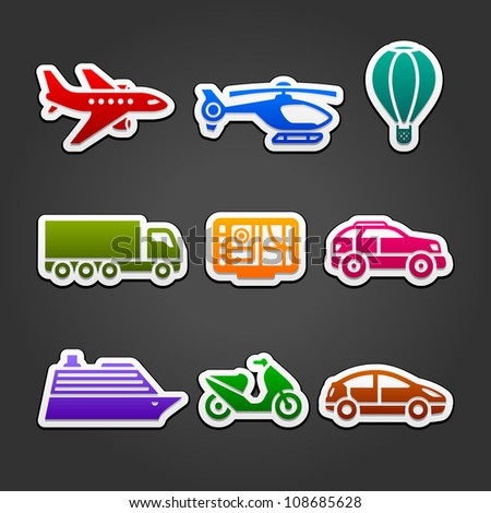 Set stickers color transport - stock vector