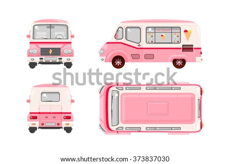 Set stock vector illustration isolated pink Ice cream car, Ice cream on wheels top, front, side, back view flat style white background Element infographic, website, icon - stock vector