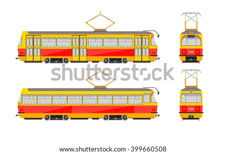 Set stock vector illustration isolated yellow tram front, side, back view flat style white background Element for site, infographic, video, animation, website, e-mail, newsletter, reports, comic, icon - stock vector