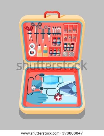 Set Stock vector illustration of medical supplies, drugs, pills, tools, clothing in suitcase in isometry flat style element for infographic, website, icon, games, motion design, video