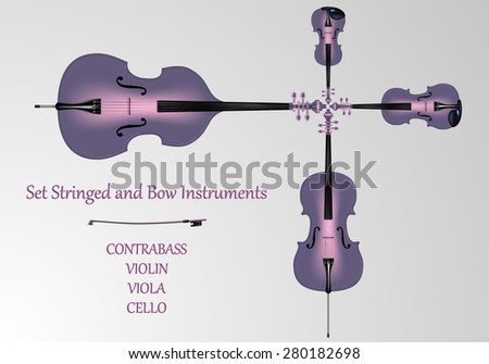 Set stringed and bow instruments. Kontrabbas, cello, viola, violin and bow purple and pink color. light background. Realistic vector illustration. - stock vector