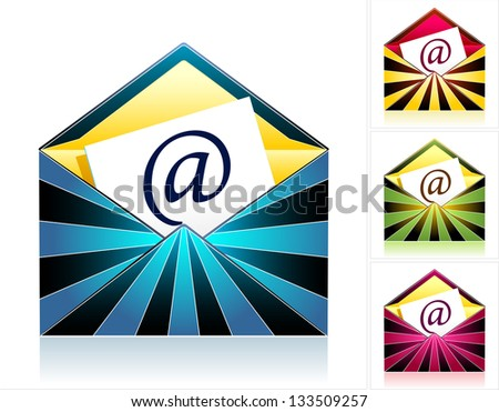 Set style creative envelopes with rays and  symbol email