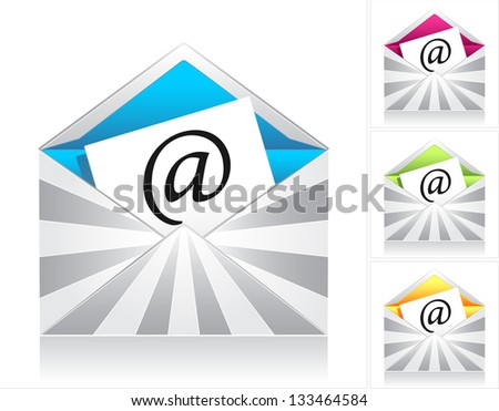 Set style creative envelopes with silver rays and  symbol email