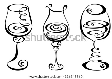Set stylized wine glass - stock vector