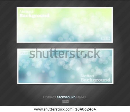 Set summer banners abstract blurred blue background with bokeh effect. Spring, nature, overcast. Vector EPS 10 illustration. - stock vector