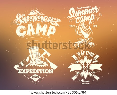 Set summer camp, expedition, rafting typography design label on on blurred background - stock vector