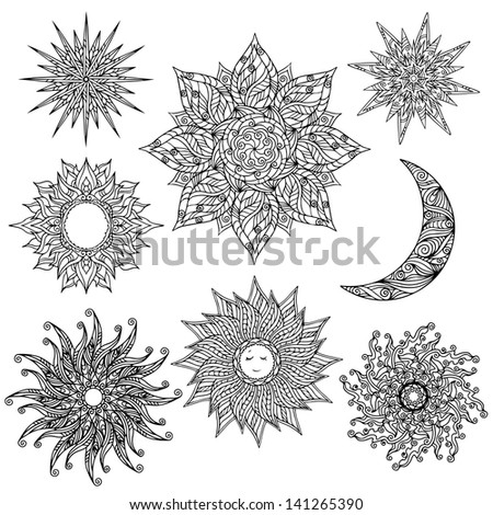 Set sun, stars, flowers moon - vector - stock vector