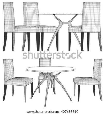 Set Table And Chairs Vector 04 - stock vector