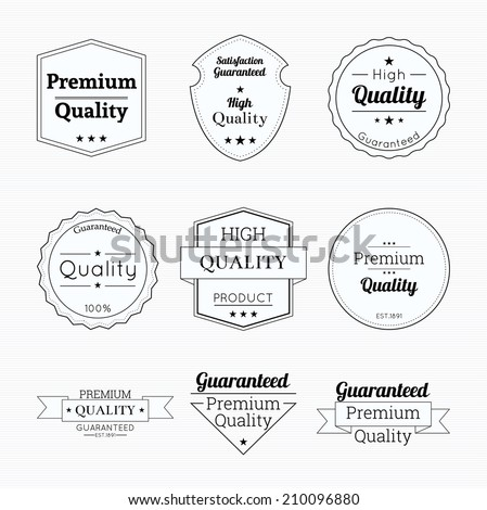 Set tags of Premium Quality and Guarantee Labels with retro vintage styled.  banner and badge high Quality. - stock vector