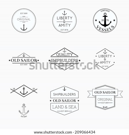 Set tags with ribbons and labels. liberty and amity, vessels,  banner with an anchor tattoo, shipbuilders - stock vector
