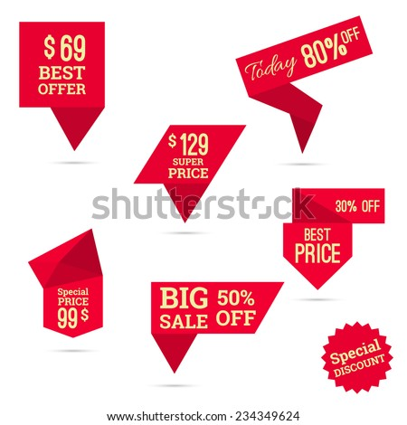 Set tags with ribbons and labels. special offer, discount and percentages, price, big sale, best super price,% banner - stock vector