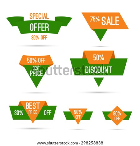 Set tags with ribbons and labels. special offer, discount and percentages, price. India national colors, white, green, orange. Discounts for Independence Day and Republic Day of India - stock vector