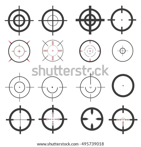 Set, target icons, sniper scope. Stylish vector illustration for web design
