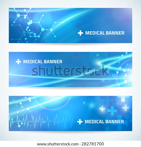set technology medical banner vector background for web or print. layered. editable. - stock vector