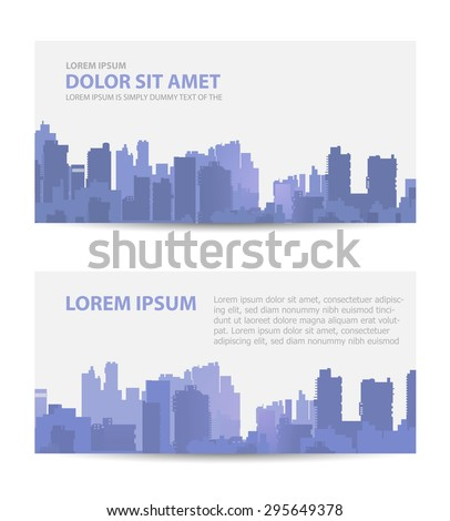 Set template invitations, business cards, flyers on the urban theme. Suitable for real estate agencies and construction and tourism companies. - stock vector