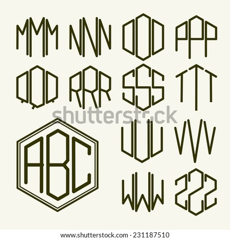 Monogram letters stock images royalty free images vectors set 2 template letters to create a monogram of three letters inscribed in a hexagon in pronofoot35fo Images