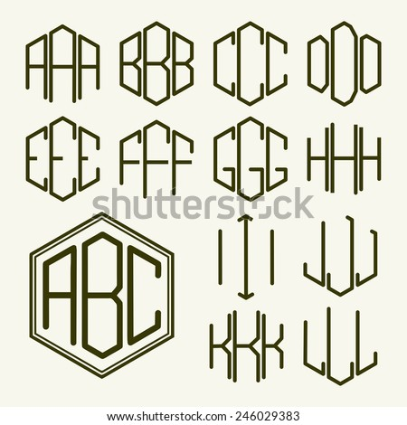 Monogram initials stock images royalty free images vectors set 1 template letters to create a monogram of three letters inscribed in a hexagon in pronofoot35fo Images