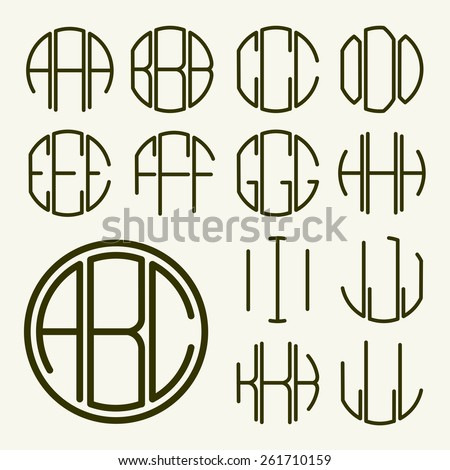 set 1 template letters to create a monogram of three letters inscribed in a hexagon in