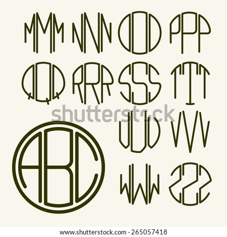 set 2 template letters to create a monogram of three letters inscribed in a hexagon in