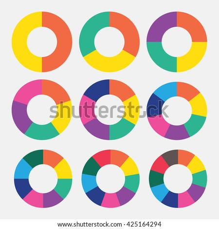 set template pie colorful chart vector