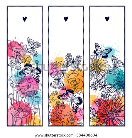 Set templates banners with butterflies and flowers. Freehand drawing - stock vector
