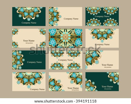 Set templates elegant gold business cards in oriental design. Floral mandala pattern and ornaments. Vector illustration. Easy to edit - stock vector