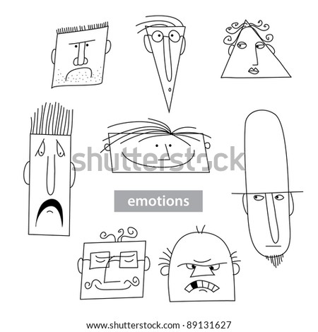 Set - the emotions of different people. Vector Collection. - stock vector