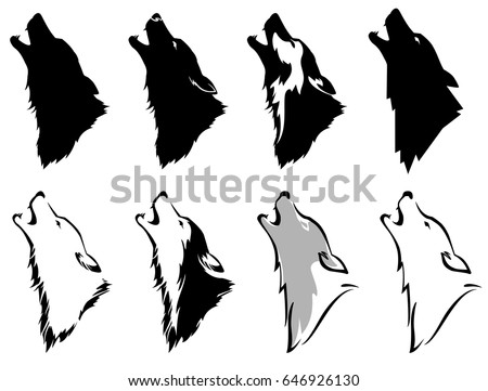 set the head of a wolf silhouette and styling the head for your design