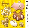 Set to make money. Illustration of monetary enrichment by earning in internet. - stock photo