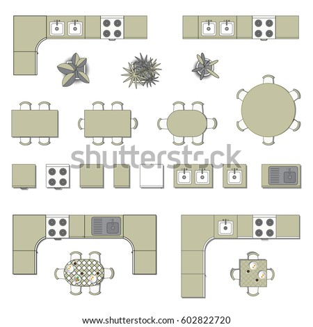 Set Top View For Interior Icon Design. Elements For Kitchen. Floor Plan.  Furniture