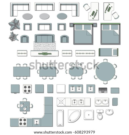 Set Top View For Interior Icon Design Elements Living Room Bedroom Kitchen