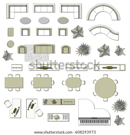 Set Top View For Interior Icon Design. Elements Living Room. Floor Plan.  Furniture
