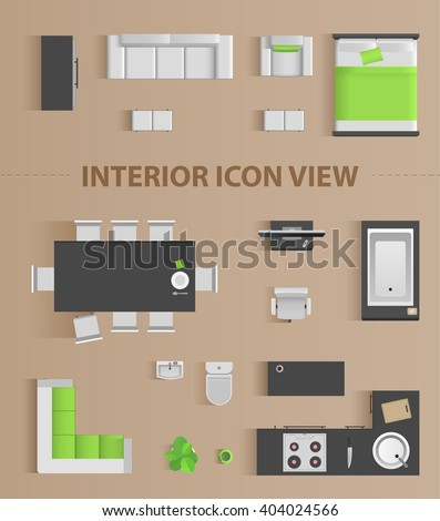 Set Top View Interior Icon Design Stock Vector 404024566 ...