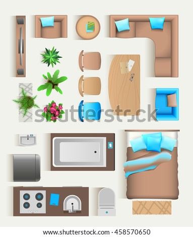 Set Top View For Interior Icon Design Isolated Vector Illustration Flat