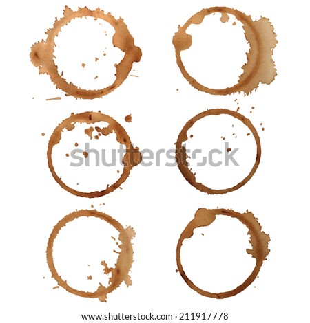 Set Traces Cup coffee. Traces coffee. Vector illustration  - stock vector