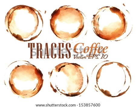 Set Traces Cup drawn pour coffee splashes and blots prints Cup vector 10 - stock vector