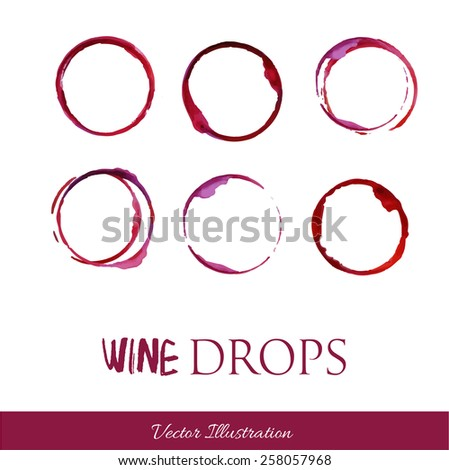 Set traces glass draw pour wine splashes drops and spot print. - stock vector