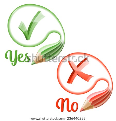 Set Transparent Check Marks with Pencils and Speech Bubbles, easy change color, icon isolated on white, vector illustration. - stock vector