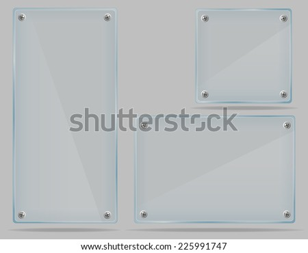 set transparent glass plate vector illustration isolated on gray background