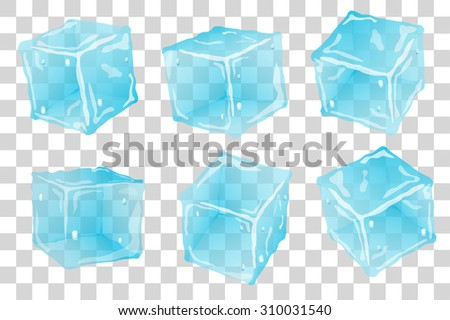 Set transparent ice cubes in blue colors - stock vector