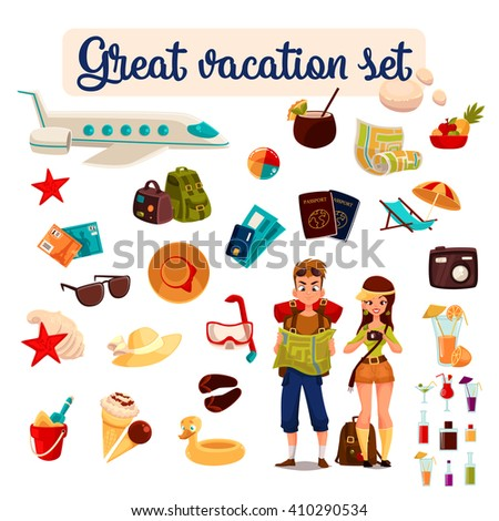 set travel concept summer vacation on the beach, cartoon tourists go hiking in travel between countries, vacation, set of vector elements of icons, card, ticket, airplane, passport, beach stuff, plane - stock vector