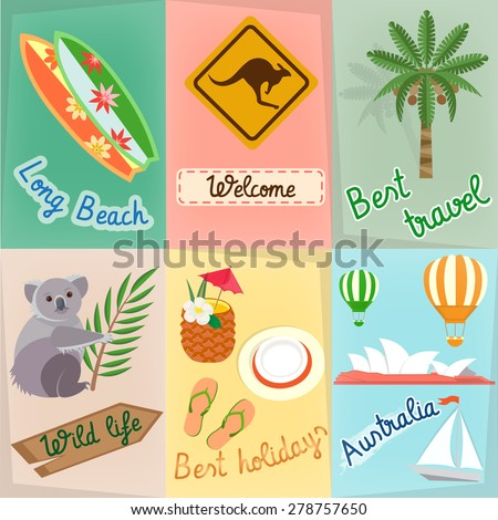 Set Travel in Australia: Koala, Serf, Road Sign Kangaroo, Palm Tree Travels around the world concept - stock vector