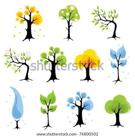 Set trees - seasons - stock vector